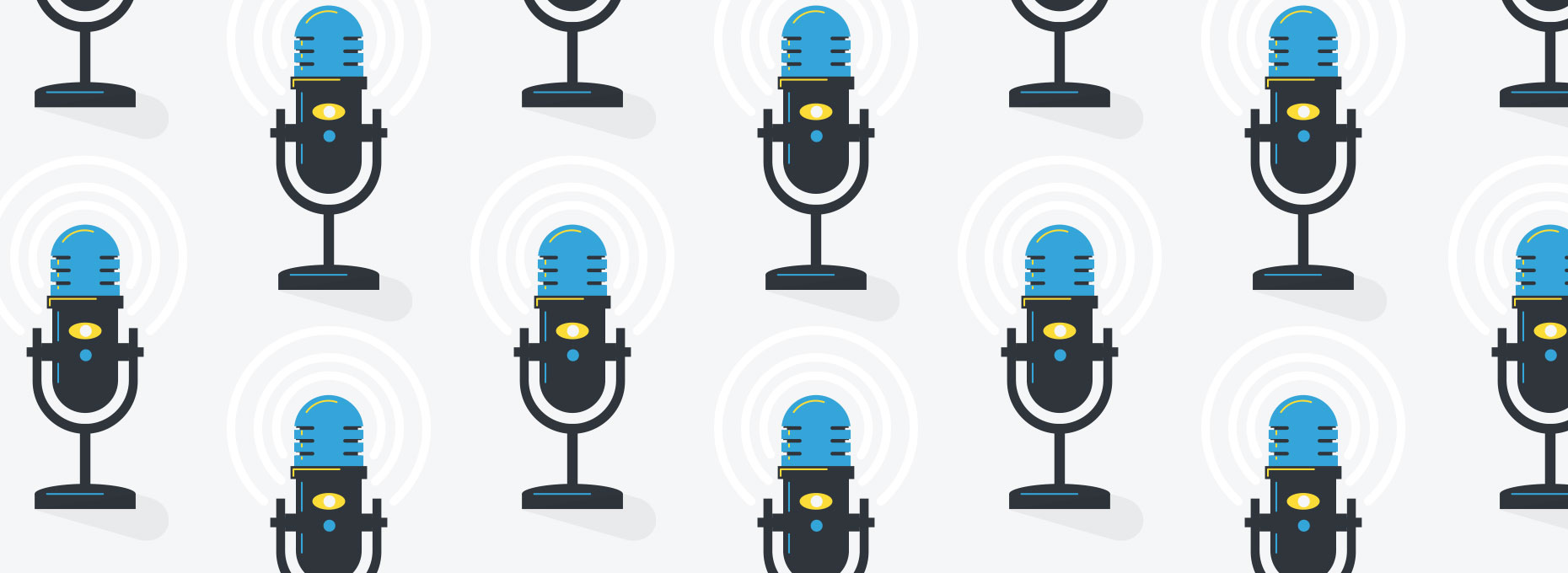 Podcast graphic image with repeating icons and microphones