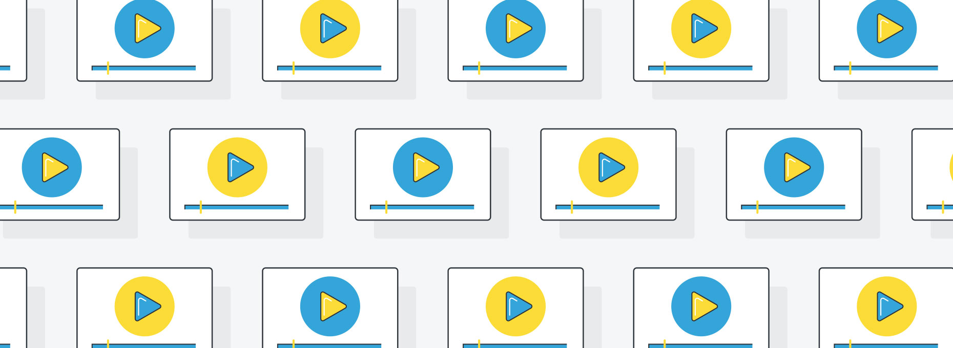 Video graphic image with repeating icons and play buttons