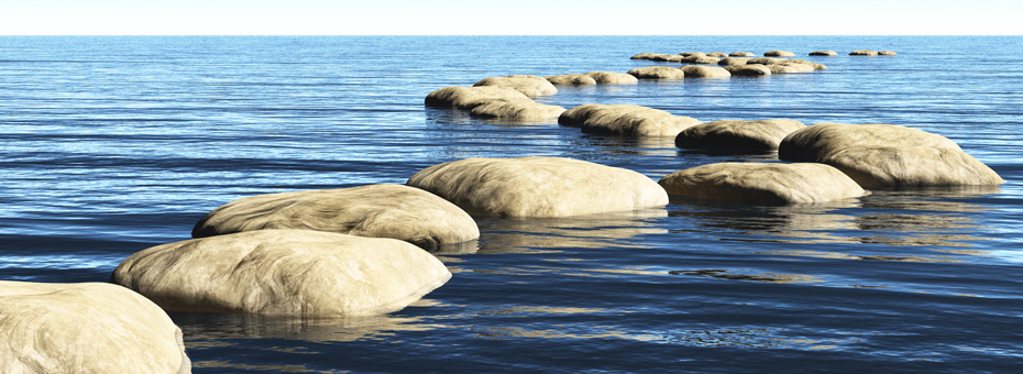 peaceful calm water with stepping stones