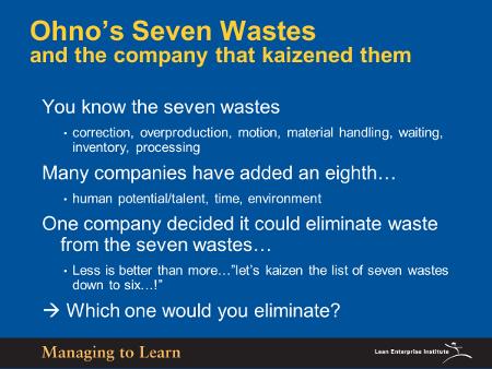 Ohno's Seven Wastes