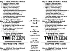 TWI Job Methods Card