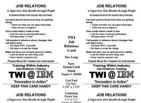 TWI Job Relations Card