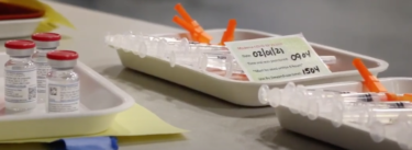 Tray of syringes
