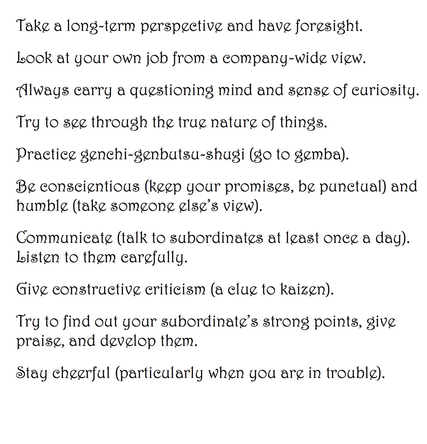10 Principles for Lean Leadership