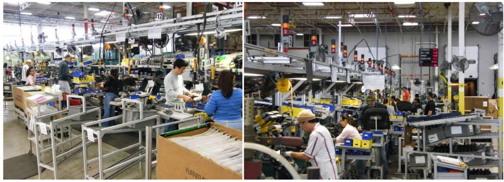 Aeron chair assembly line
