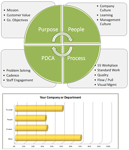 A lean self-evaluation examines performance in four areas: purpose, people and culture, process and operations, and continuous improvement.