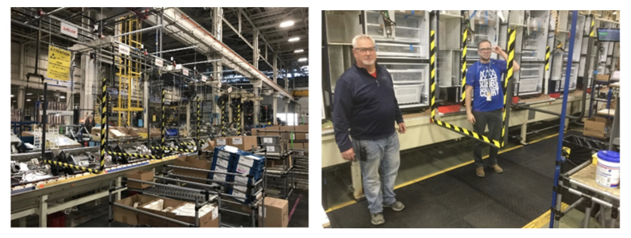 GE Appliances factory floor barriers between workers for Covid protection